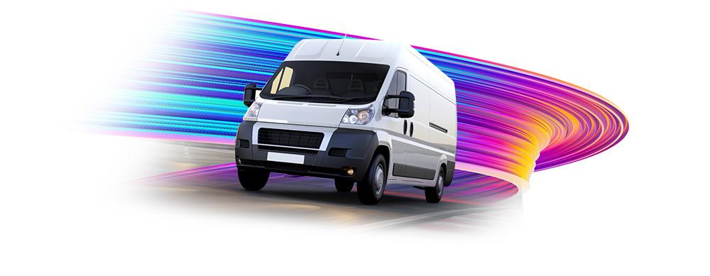 Graphic of white van - image
